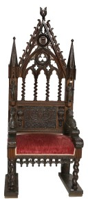a 19th century carved oak Gothic throne chair (2,000-3,000).