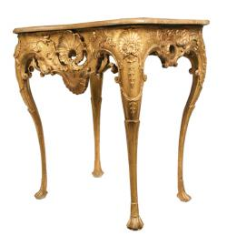 Irish eighteenth-century carved giltwood console table, circa 1730 (8,000-12,000).