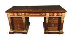 A large ormolu mounted nineteenth-century French Empire pedestal writing desk, circa 1890 is estiamted at 6,000-9,000.