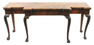 Irish eighteenth-century period mahogany breakfront hall table with scagliola marble top (2,500-4,000).