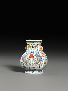 Underglaze-Blue Polychrome Enamel 'Phoenix' Vase - Fangu, Qanlong Seal Mark and Period estimated at 80,000-120,000.
