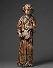 A walnut Angel with Tambourine with original gilding, Lombardy, mid 15th century at Mullany.
