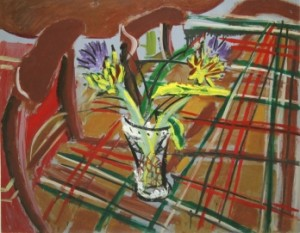 Elizabeth Cope - Globe artichokes, Tuktan rug in dining room at Shankill Centre (500-700).
