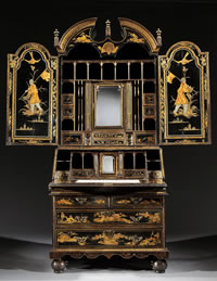 An English Queen Anne black japanned bureau cabinet c1710 at  Ronald Phillips.