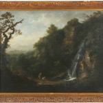 ATTRIBUTED TO JOHN BUTTS (1728-1765), Figures by Powerscourt Waterfall (15,000-25,000).