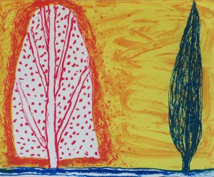Two trees, intaglio print, 30 x 36cm, 2007.  (Click on image to enlarge).