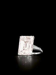 13.19 emerald cut light pink diamond and diamond ring, Cartier (600,000-800,000)