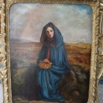 "19th century Irish oil on canvas, ""Lady sitting in a field"", unsigned (1,000-1,500)."