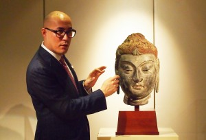 Sotheby's Nicolas Chow presents a Tang-dynasty dry lacquer head of Buddha from the collection of Sakamoto Goro