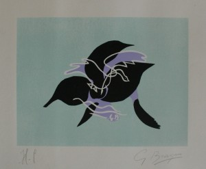 A 1961 lithograph, L'essor I by George Braque, is priced at 2,450 at the Whitley Art Gallery stand.