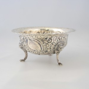 Irish sugar bowl Geo111 1765 by Samuel Walker ,repousee of birds and foliage 2,250e