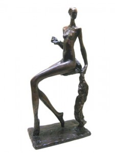 "A bronze contemporary sculpture, ""Seated Female"" by James McCarthy (4,000-6,000)."