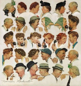 Norman Rockwell The Gossips signed Norman Rockwell oil on canvas. Painted in 1948.