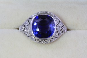 A c1911 sapphire and diamond cluster ring is priced at 11,500 at Weldons.