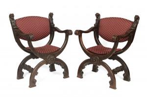 A pair of late 19th century Savonarola chairs (1,000-1,500).