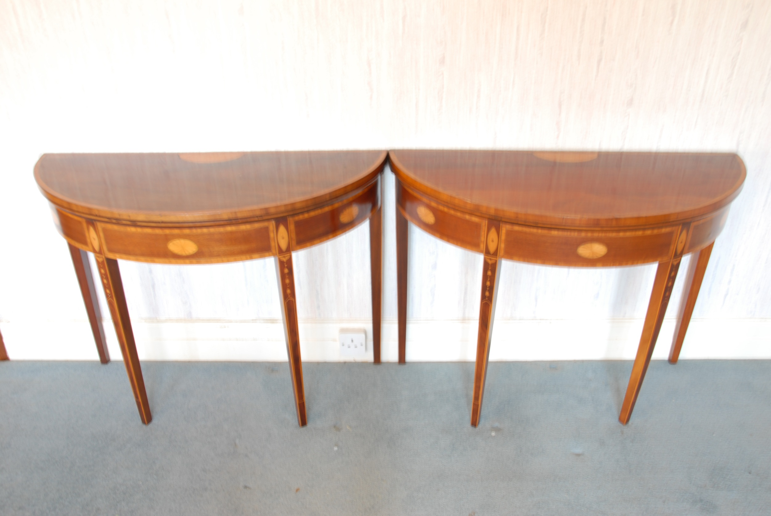 Antique card table regency card table inlaid card table antique - A Pair Of Inlaid Mahogany Demi Lune Card Tables 2 000 3 000