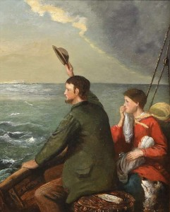 Alfred Grey RHA (1845-1926) The Emigrants Last Farewell Signed Inscribed ''John Ford, Passenger to New York'' on label on top of basket (1,000-1,500)