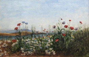 Andrew Nicholl RHA (1804-1886) A View of a Castle Through a Bank of Poppies and Wild Flowers Watercolour  (6,000-8,000)