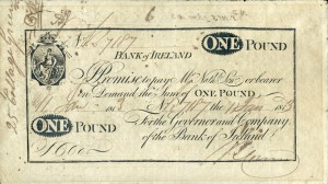 A Bank of Ireland One Pound note issued on 11 January 1813 and numbered 7187