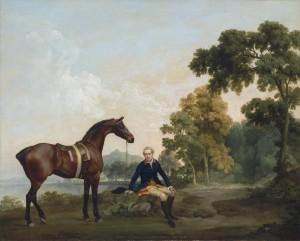 George Stubbs, A.R.A. (1724-1806) James Hamilton, 2nd Earl of Clanbrassil (1730-1798), with his hunter Mowbray, resting on a wooded path by a stream (£1.5-2.5 million).  Courtesy, Christie's Images Ltd., 2013.