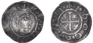 A First Coinage Halfpenny minted in Dublin during John's period as Lord from 1172-1199