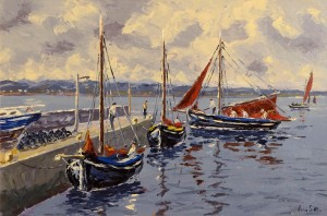 Ivan Sutton - Galway Hookers at Carraroe Pier, Co. Galway (1,500-2,000)