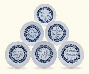 "A rare set of six English blue and white ""Merryman"" plates, probably London, 1752, from Lambay (£20,000-30,000)."
