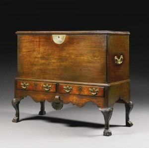 A George II Irish mahogany blanket chest on stand c1750 (£7,000-10,000).