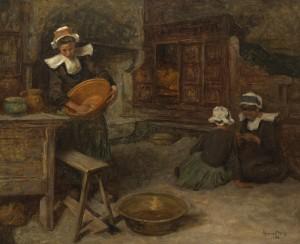 Aloysius O'Kelly (1853-1936)  Breton women in a kitchen 1905 (25,000-35,000).