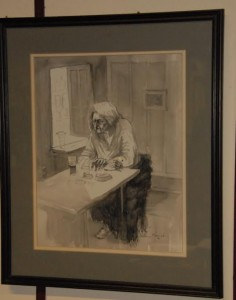 "Pen & Ink drawing ""Kathy"" (Barry) signed William Harrington '82 (800-1,200)"