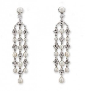 A pair of diamond and natural pearl pendant earrings (7,000-10,000)