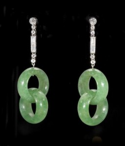 A pair of Art Deco diamond and jade set earrings (10,000-15,000)