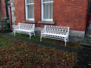 These cast iron gothic benches are estimated at 1,000-1-500.
