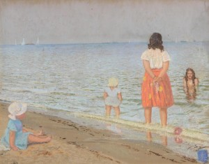 Patrick Leonard HRHA (1918-2005) Hilary and the Kids at the Beach  (1,500-2,500).