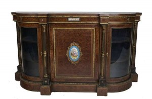 AN EBONISED AND FIGURED WALNUT SIDE CABINET, LATE 19th CENTURY (1,500-2,000