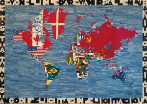 ALIGHIERO BOETTI (1940-1994) Mappa signed and dated 'Alighiero e Boetti KABUL AFGHANISTAN 1979' (£450,000-650,000).  Courtesy Christie's Images Ltd., 2014.