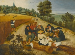 Pieter Breughel the Younger.  Summer: figures eating during the summer harvest, 1600.