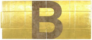 Danh Vo Alphabet B 2011 gold leaf on unfolded cardboard box