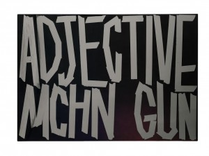 Eddie Peake Adjective Machine Gun 2013 Spray paint on polished stainless steel