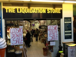 CLOSING DOWN - The Liqudation Store at Paul St. shopping centre, Cork, January 17, 2014.