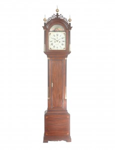 Delaney Antique Clocks. Tall Clock by William Cummens. Roxbury, Massachusetts, c. 1795. 7 ft 9 ½ in. tall.