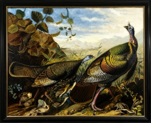 Hirschl & Adler Galleries, Inc. John James Audubon (1785-1851). Wild Turkey Cock, Hen and Young. 1826. Oil on canvas. 47 1/2 in. x 59 1/2 in.