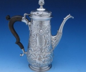 A Dublin George II coffee pot by James Warren, 1755.