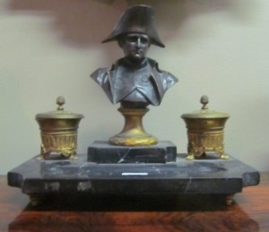 French Early Nineteenth Century Ormolu Mounted Double Inkwell with Bronze Bust of Napoleon (300-500).