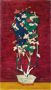 Sanyu - Potted Chrysanthemums. Oil on masonite.