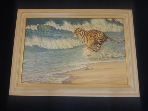 Bengal Tiger, Splash by Joan Sharrock.