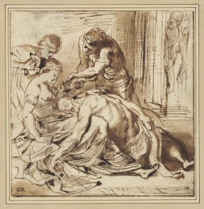 Sir Peter Paul Rubens (Siegen 1577-1640 Antwerp)  Samson and Delilah (recto); Figure studies, probably of soldiers (verso)  (£1.5-2.5 million). Courtesy Christie's Images Ltd., 2014.