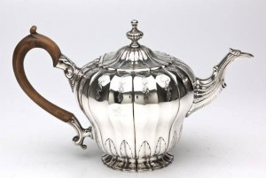 An inverted Cork Pear Shaped teapot by Stephen Walshe 1750.