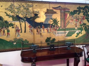 An early 19th century hand painted Chinese six panel screen priced 8,500 at John Carroll.
