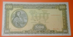 A Lady Lavery 100 pound Irish banknote.